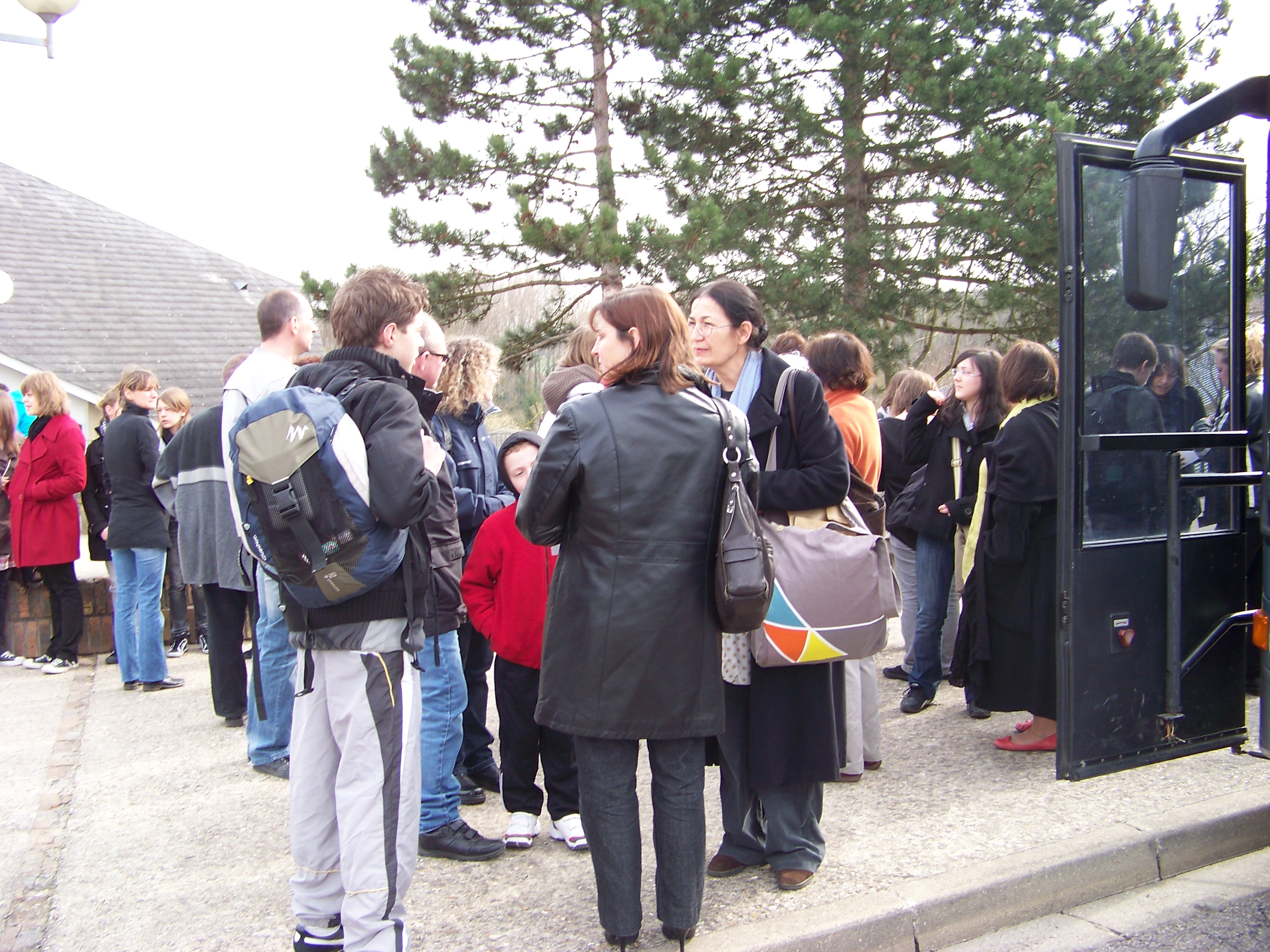 Outside the school in Epône
